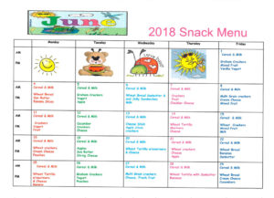 June 2016 snack menu, Olney